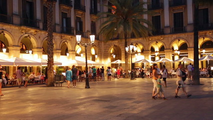 night view of Placa Reial in summer. Barcelona, Catalonia