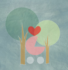 Wheel-chair newborn and family  trees with heart