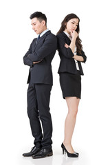 business man and woman feel confused and worried