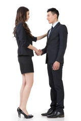 business man and woman shake hands