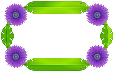 A border design with lavender flowers and green leaves