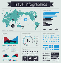Travel info graphics design elements, graphs, icons