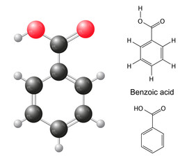 Structural chemical formulas and model of benzoic acid molecule