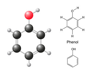 Structural chemical formulas and model of phenol molecule