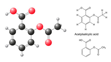 Structural formulas and model of acetylsalicylic acid molecule