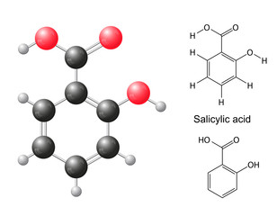 Сhemical formulas and model of salicylic acid molecule