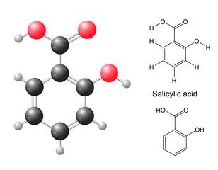 Сhemical formulas and model of salicylic acid molecule