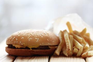 cheeseburger and fries, breakfast