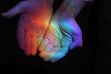 rainbow in the hands