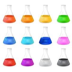 Chemical conical flask icon set