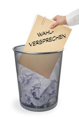 Papierkorb mit Akte - Wahlversprechen