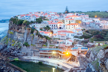 Azenhas do Mar village at dusk Portugal