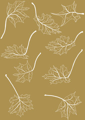 maple leaves sketches isolated on brown