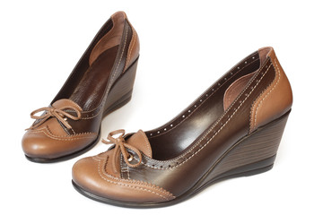 Brown leather women shoes
