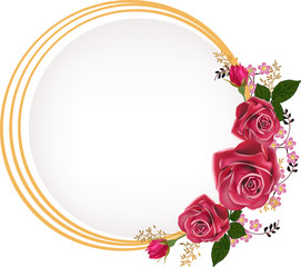 circle gold frame decorated by rose flowers