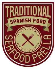 spanish seafood paella label