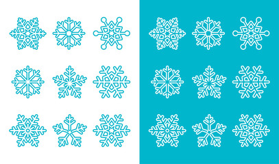 Snowflakes, winter blue decoration icons set