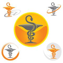 Ensemble d'Icones Pharmacie avec Symbole Caducée - Jaune