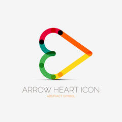 Arrow heart icon company logo, business concept
