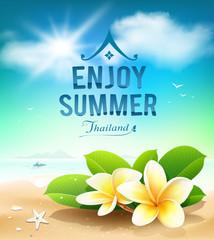 Plumeria flowers, enjoy summer greeting card on beach Thailand