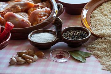 still life prepared for paella Valenciana