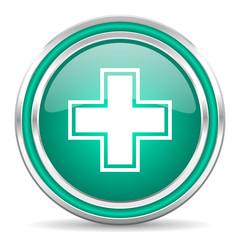 pharmacy green glossy web icon