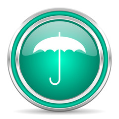 umbrella green glossy web icon