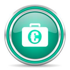 financial green glossy web icon