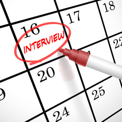 interview word circle marked on a calendar
