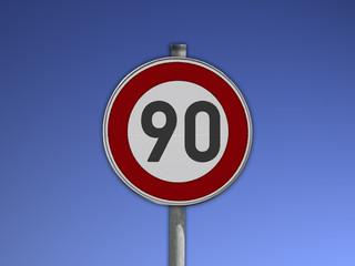 Verkehrsschild Tempo 90