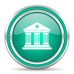 museum green glossy web icon