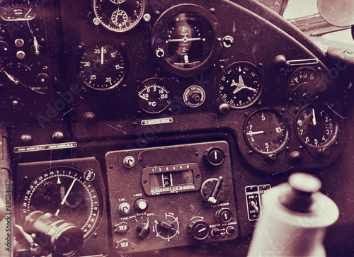 Vintage aircraft cockpit detail - 69034087