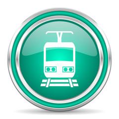 train green glossy web icon