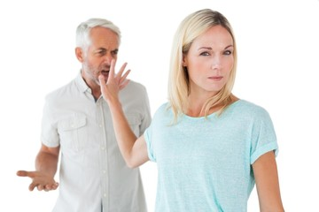 Woman not listening to her angry partner