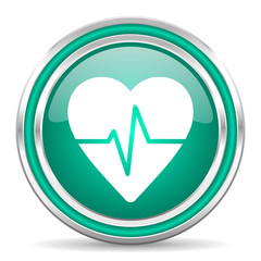 pulse green glossy web icon