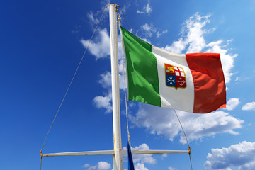Italian Nautical Flag on Blue Sky
