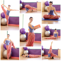 Beautiful girl makes different yoga exercises
