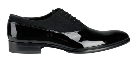 Black patent leather male shoes