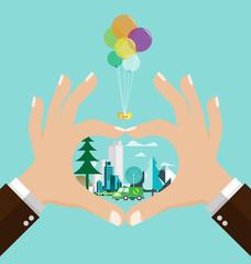 Love green city vector