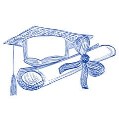 Graduate cap and diploma contour style ballpoint pen