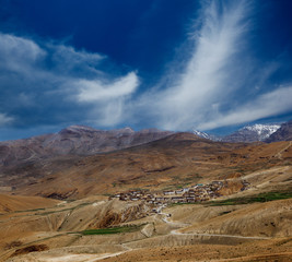Indian village in Spiti valley