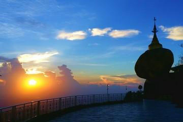 Sunset at Golden rock pagoda.