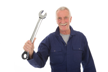 Senior worker with wrench