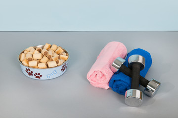 Filled food bowl for dogs with sports equipment