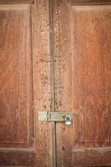 vintage wood door of thai style house