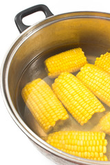 Boiled corn in metal pot on white
