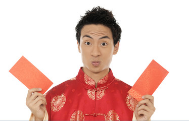 Chinese new year. In Chinese, a red packet is a monetary gift