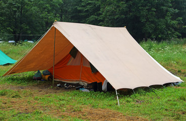 camping tent in a scout camp on the lawn