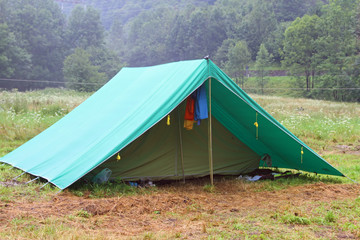 tent in a scout camp on the lawn in the mountains in summer