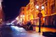 city pedestrian street night city lights - 69038267